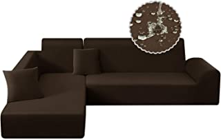 Best TAOCOCO Water Resistance Sectional Couch Covers 2pcs L-Shaped Sofa Covers Stretch Sofa Slipcovers with 2pcs Pillowcases L-Type Polyester Fabric Softness Sofa Covers 3 Seats +3 Seats (Seal Brown) Review