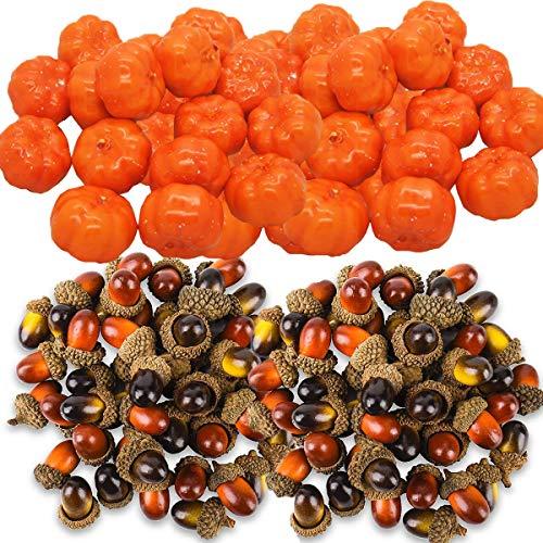 Fiyuer lebensechte kürbisse 100 Pcs künstliche eicheln künstlich kürbis deko kürbisse Halloween für klein gemüse Herbst-Dekoration Home Decor DIY Basteln