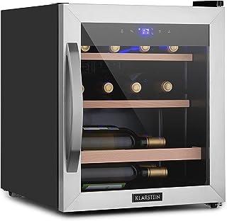 Klarstein Vinamour Uno Weinkühlschrank, externes Touch-Bedienfeld, luxuriös: Sicherheitsglastür mit Edelstahl-Rahmen, Kapazität: 12 Flaschen / 46 Liter, eine Kühlzone: 4-18 °C, 40 dB, schwarz
