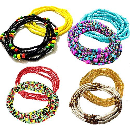 Tuoshei 8 Piece Summer Jewelry Waist Bead Set, Colorful Waist Bead, Belly Bead, African Waist Bead, Body Chain, Beaded Belly Chain, Bikini Jewelry for Woman Girl (style 2)