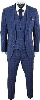 HARRY BROWN Mens Navy Blue Check Suit 3 Piece Slim Fit Wool Vintage Classic Retro