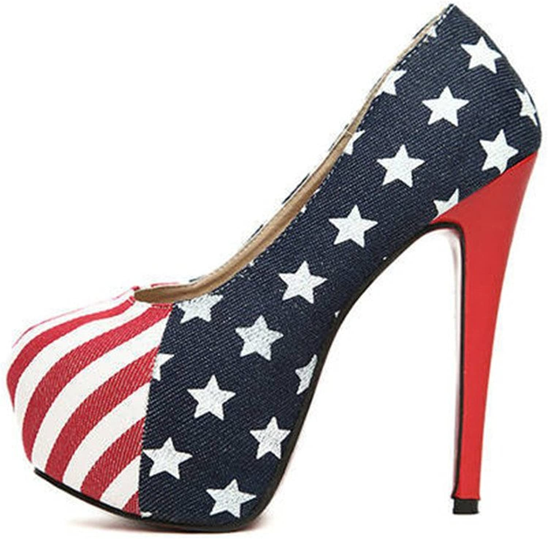 Optimal Women Flag Platform Pumps High Heels shoes