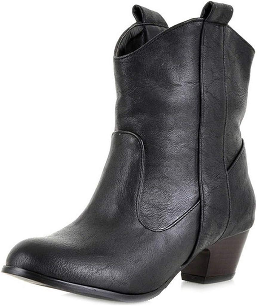 MIOKE Women's Cowboy 2020秋冬新作 Western Ankle Boots 贈答品 Toe On Chels Round Slip