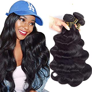 QTHAIR 12A Brazilian Virgin Body Wave Human Hair(20 18 16 14,400g,Natural Black)100% Unprocessed Body Wave Brazilian Virgin Human Hair Extensions Weave Brazilian Body Wave Hair Weaving