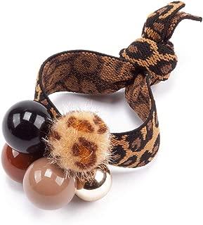 Womens Girls Leopard Animal Print Pom Pom Balls Elastic Hair Ties Rings Ponytail Holder Hair Accessories (Black)