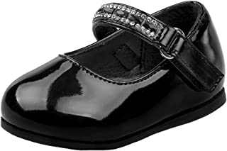 Baby Girls Mary Jane Ballerina Patent Dress Shoes Jewel Strap (Infant/Toddler)
