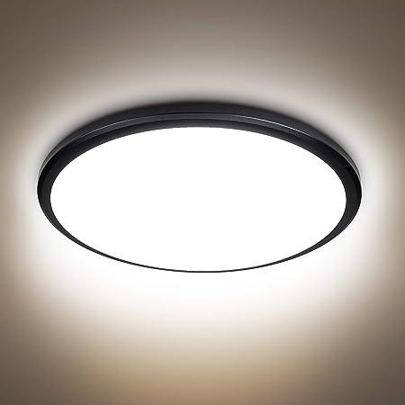 Plafonnier LED 24W, 2040lumen 4000K blanc naturel, 220V 24LEDs, plafonnier led plafond moderne luminaire noir pour salle de bain salon garage couloir armoire sous-sol bureau d'escalier