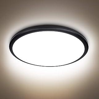 Plafonnier LED 24W, 2040lumen 4000K blanc naturel, 220V 24LEDs, plafonnier led plafond moderne luminaire noir pour salle d...