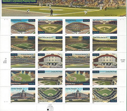 Baseball Legendary Playing Fields Collectible Sheet of 20 34 Cent Stamps Scott 3510-19