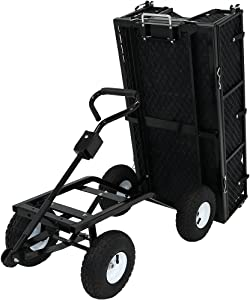Sunnydaze Utility Steel Dump Garden Cart with Liner Set, Outdoor Lawn Wagon with Removable Sides, Heavy-Duty 660 Pound Capacity, Black