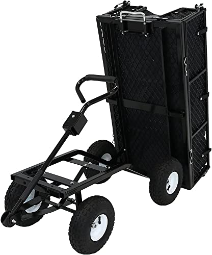 high quality Sunnydaze Utility Steel Dump Garden Cart with Liner outlet sale Set, Outdoor Lawn Wagon with Removable Sides, new arrival Heavy-Duty 660 Pound Capacity, Black sale