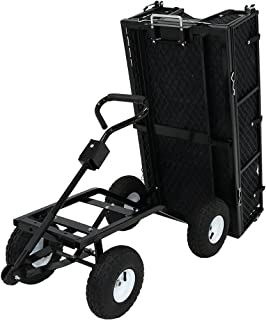 Sunnydaze Utility Steel Dump Garden Cart with Liner Set, Outdoor Lawn Wagon with Removable Sides, Heavy-Duty 660 Pound Cap...