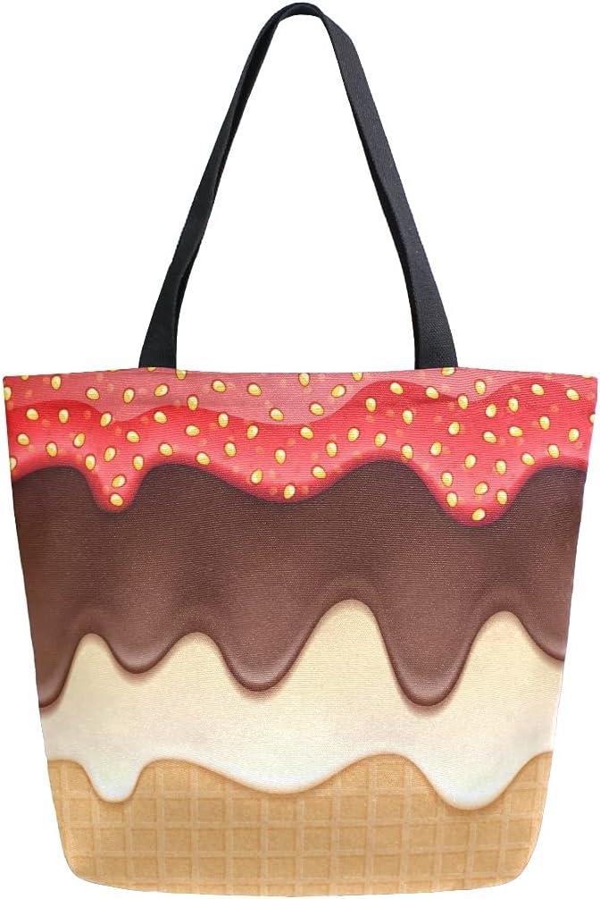 Mnsruu Oblea que fluye chocolate crema fresa comestibles reutilizable bolsa de mano grande casual bolso bolso de hombro para compras compras compras compras compras compras viajes al aire libre