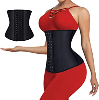 Women Waist Trainer Latex Waist Cincher Corset Body...
