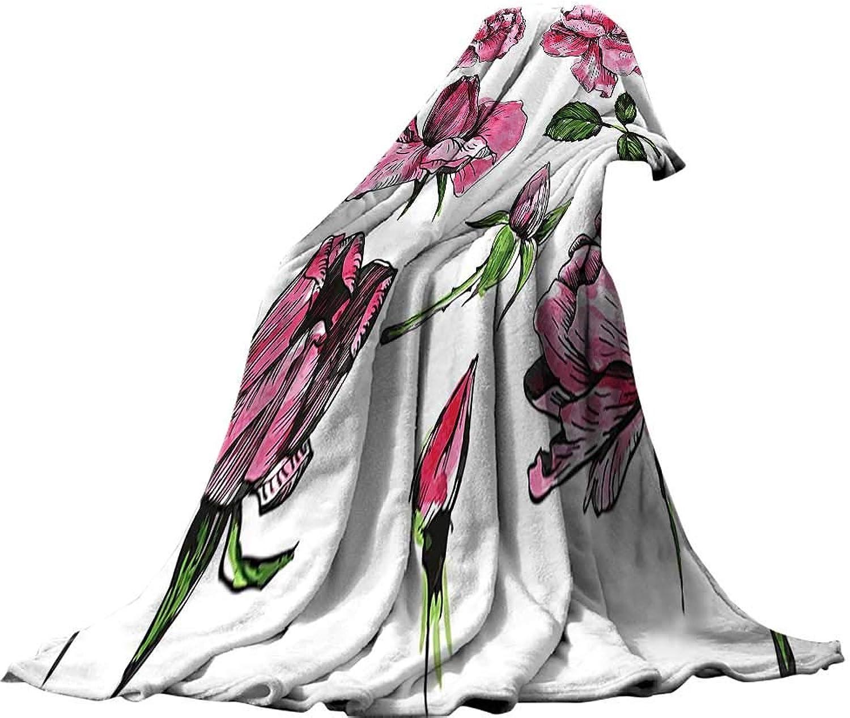 QINYAN-Home Super Soft Blanket (80 x60 ) Summer Quilt Comforter Floral Garden Flowers pinks Buds Leaves Hand Drawn Sketchy Image Art Hot Pink Light Pink and Green.