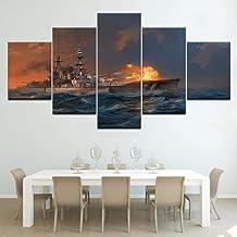 JGWLH Imagen 200X100Cm Cartel De Lienzo Sala De Estar Modular Decoración del Hogar 5 Piezas Mundial Buque De Guerra Pintura Arte De La Pared Barco Juego Imagen Abstracta