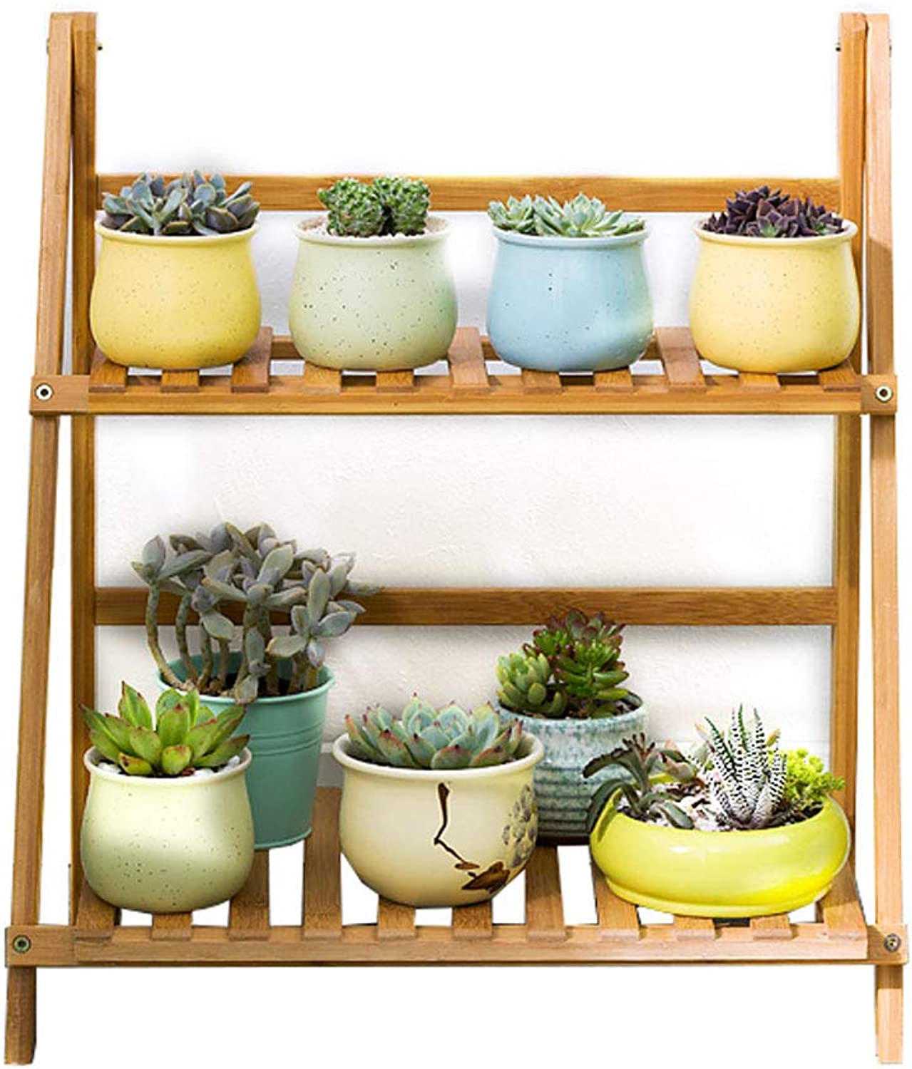 DLoob 2 Tier Bamboo Plant Rack Stand Storage Rack Shelf Pot Holder for Indoor Outdoor Greenhouse (Size   L 50CM)