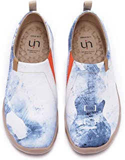 UIN Women's Men's Slip ons Canvas Lightweight Sneakers Walking Casual Flats Art Painted Travel Shoes Unisex Music Chase