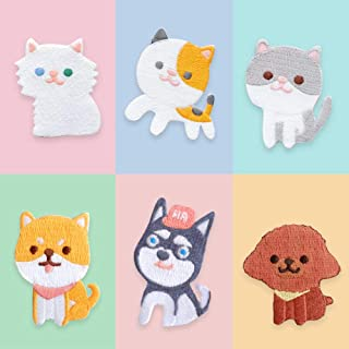 Assorted Pet Iron on Patches DIY Sew on Embroidered Applique Puppy Dog and Kitty Cat, 6Pcs