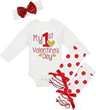 My First Valentine's Day Outfit Set Baby Girls Cute Romper Bodysuit + Dots Leg Warmers + Headband