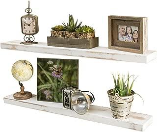 Del Hutson Designs-Rustic Pine Floating Shelves (White, 36 Inch)