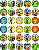 30 x Edible Cupcake Toppers Themed of Teletubbies Collection of Edible Cake Decorations | Uncut Edible on Wafer Sheet