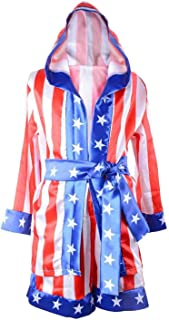 Classic Movie Clothes Apollo American Flag Children Boxing Costume Robe Cloak Hooded Shorts Kids Italian Stallion Suits