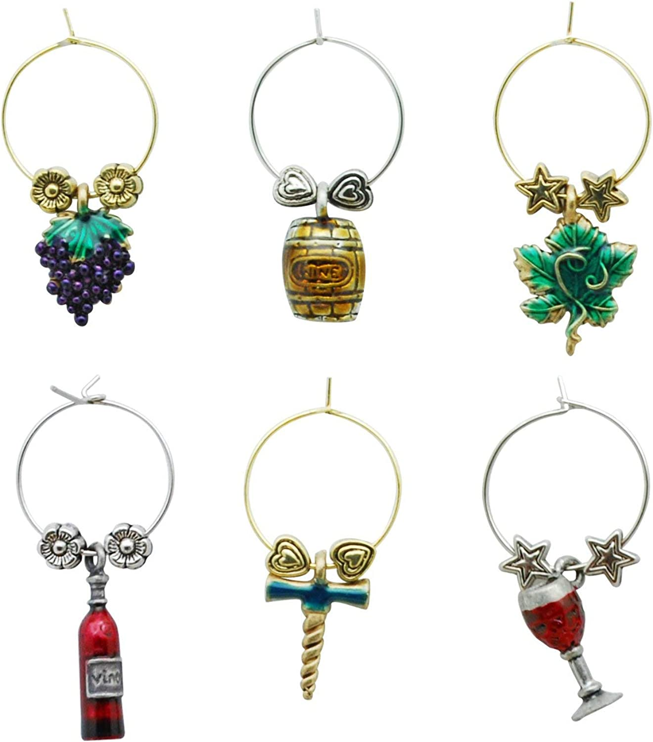 Wine Things In a popularity 6-Piece Charms free shipping Glass Tags fo Markers Drink