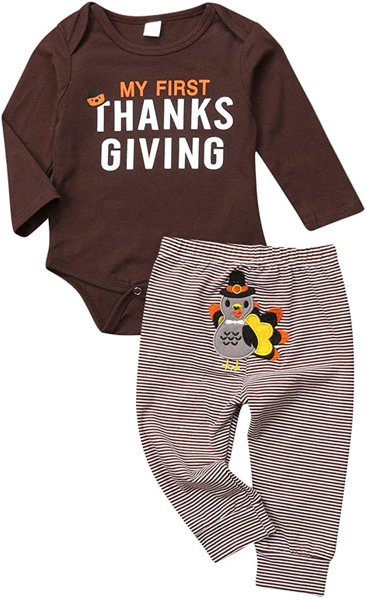 Baby Boy Girl Thanksgiving Christmas Outfit Letters Print Bodysuit+Long Pants and Hat Headband Clothes Set