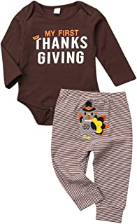 My First Thanksgiving Baby Boy Girl Outfit Cotton Long Sleeve Romper+Striped Turkey Pants 2Pcs Set