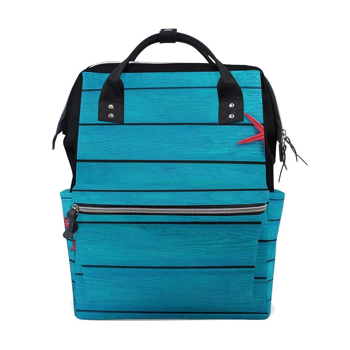 Blue Wood Board Starfishes School Backpack Large Capacity Mummy Bags Laptop Handbag Casual Travel Rucksack Satchel For Women Men Adult Teen Children