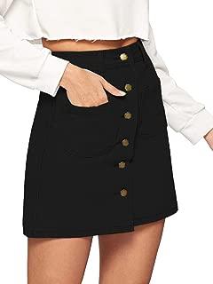Women's Casual Patch Pocket Button-Up A-Line Short Skirt