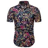 Hawaiana Camisa Hombre Verano Clásica Moda Cárdigan Ajustado Hombre Shirt Moderno Básico Elástico Vintage Estampado Manga Corta Urbano Casual Vacaciones Hombre Playa Shirt D-Navy L