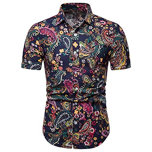 Camisa para Hombre Slim Fit Verano Nuevo Estampado para Hombre Manga Corta Stretch Casual Moderna para Hombre Camisas Casuales Moda Cuello Kent para Hombre Camisa Henley D-Navy M