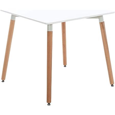 CLP Table De Cuisine Retro Viborg I Table Salle A Manger avec Plateau Forme Carrée I Pieds Solides en Bois De Hêtre Nature, Couleur:Blanc, Taille:80 cm