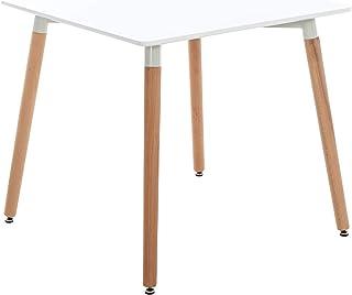 CLP Table De Cuisine Retro Viborg I Table Salle A Manger avec Plateau Forme Carrée I Pieds Solides en Bois De Hêtre Natur...