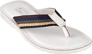 tZaro Genuine Leather White Slippers - Cloud