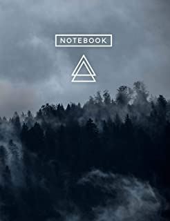 Aesthetic Art Journaling: Light Weight Mountain Hiking Composition Book 150 Dotted Bullet/Dot Grid Pages Forest Fog