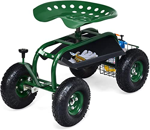 new arrival Giantex Mobile Garden 2021 Workseat, Lawn Wagon Cart, Patio Yard wholesale Stool Cart, Steerable Outdoor Utility Cart with Rotating Seat and Tool Basket (Green) outlet online sale