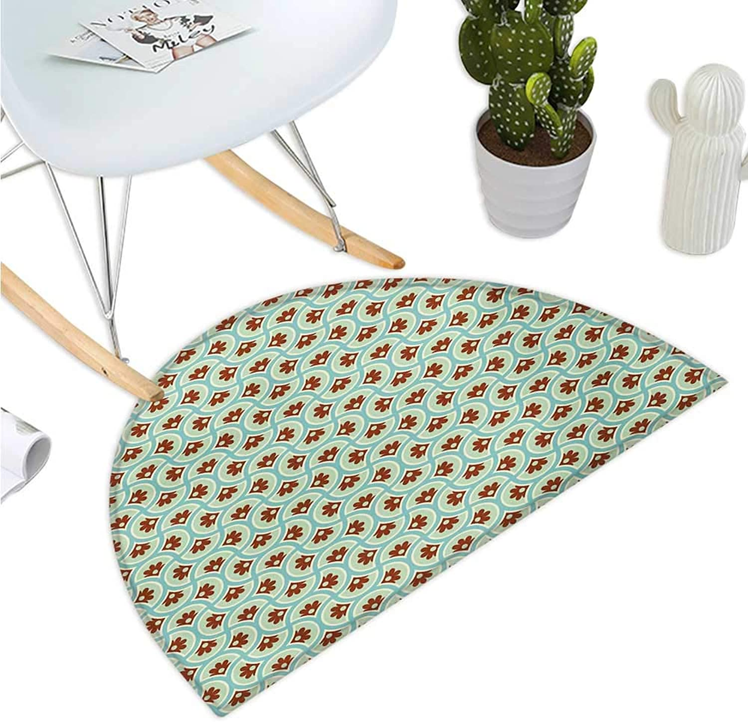 Floral Semicircular Cushion Old Fashioned Flowers Motif with Abstract Effects Nostalgia Print Entry Door Mat H 35.4  xD 53.1  Brown Pale Green Seafoam