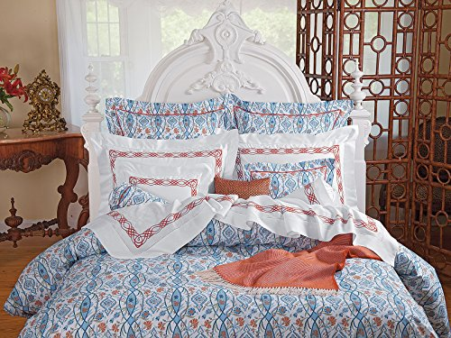 Why Choose Schweitzer Linen Azulejo Shams, Blue (Neckroll, Each)