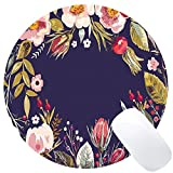 Wknoon Retro Floral Flowers Art Navy Blue Round Mouse Pad Custom, Vintage Colorful Hand Drawn Floral Wreath Circular Mouse Pads