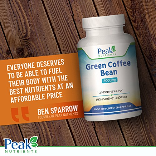 Green Coffee Bean Extract 6000mg, 90 Capsules (3 Months Supply), High Strength for Maximum Results, Weight Management Supplement - Manufactured in The U.K to GMP Standards