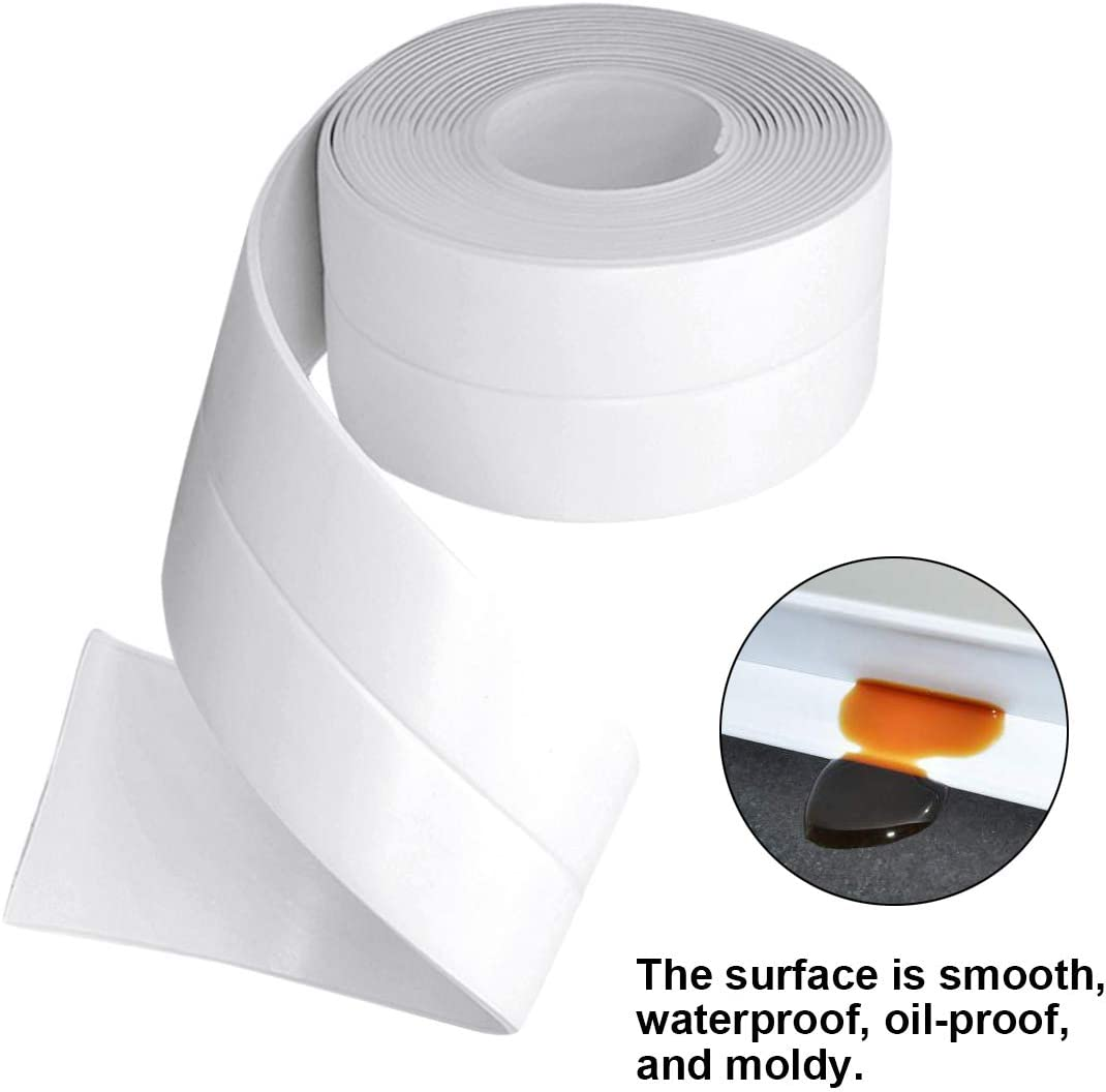 Kissral Wasserdichtes Klebeband für KüChen und Badezimmer Dichtband  Selbstklebend Weiß Dichtungsband Anti Mehltau für Waschbecken  Toilettenkante ...