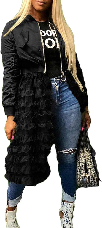 Women Jacket Long Sleeve Zipper Under blast Rapid rise sales Mesh Ruffle Sheer Dres Patchwork