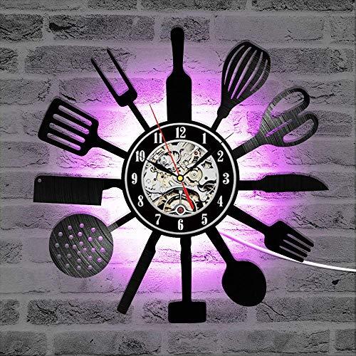 WPYC Reloj de pared de vinilo de cocina moderno diseño cuchillo y tenedor reloj con 7 colores cahnge 3d reloj de pared decoración del hogar sin LED