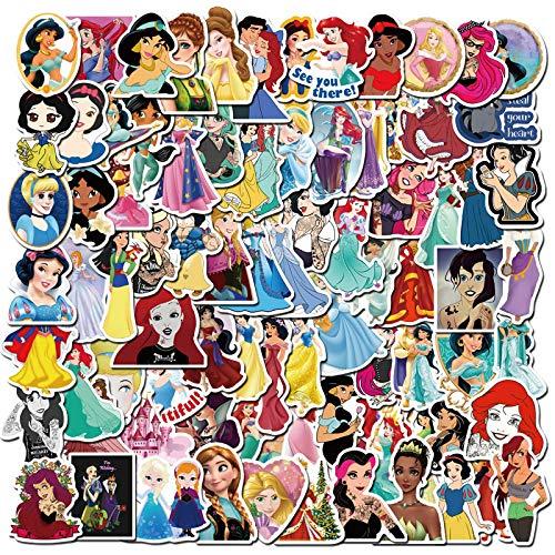 WYZN 100 pz Disney Princess Anime Arrives Graffiti Sticker Personalità Creativo Fai Da Te Decorativo Notebook Computer Impermeabile Vinile Scooter Cartoon Sticker Decal Regalo Bambini
