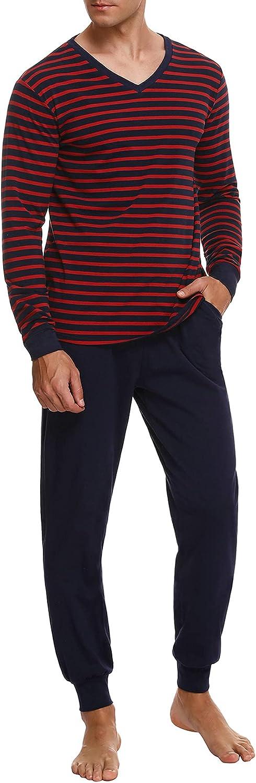 NC Pijama Hombre Largo Algodón con Mangas Largas Comfortable 2 Piezas Conjunto de Pijama Largo Hombre a Rayas Cuello Redondo Ropa de Dormir Suave Cómodo