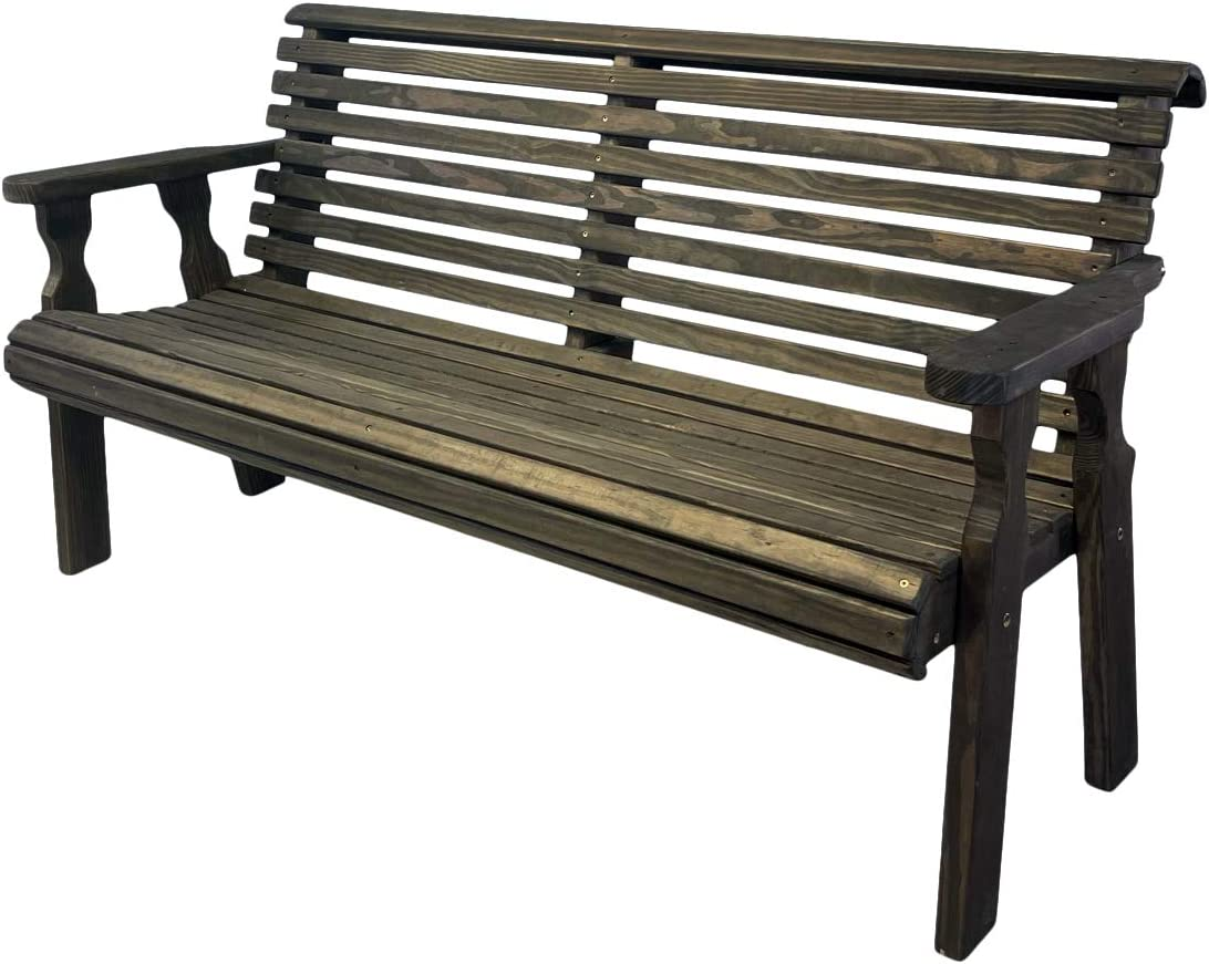 Amish Heavy Duty 800 Lb Roll Back Pressure Treated Garden Bench (4 Foot, Dark Walnut Stain)