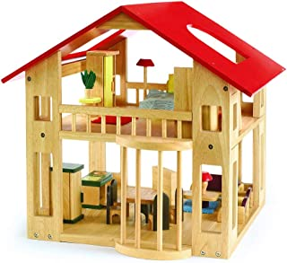 Excellerations Wooden Dollhouse and Furniture Set for Kids, Open-Sided, Includes 28-Pieces, 19 Inches Long x 19 Inches Wide x 18 Inches High